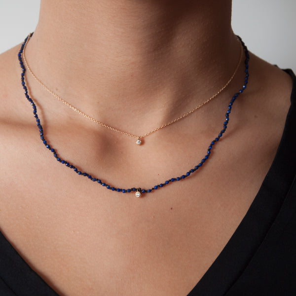 Lapis Lazuli  knotted bead Necklace 14k gold - Vivien Frank Designs