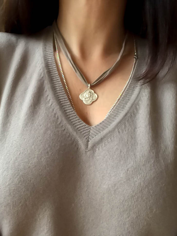 Sterling Lotus pendant on Silk wrap - Vivien Frank Designs