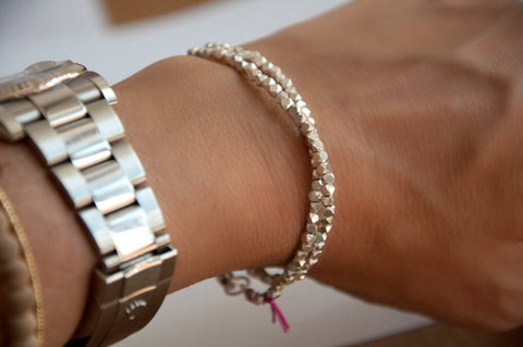Faceted nugget wrap bracelet