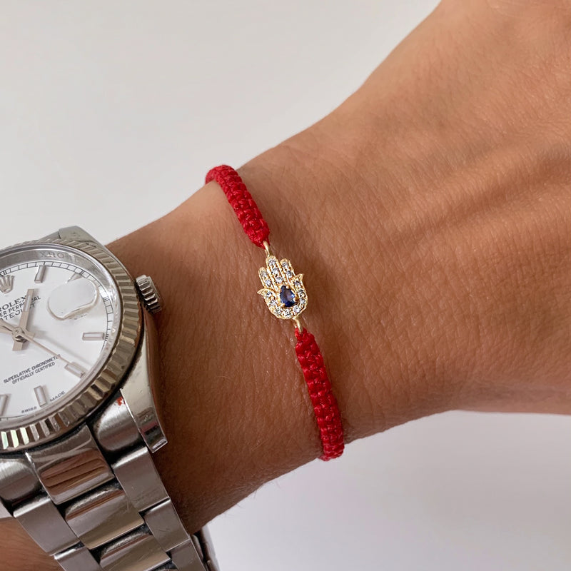 Hamsa Bracelet 14k gold with diamonds