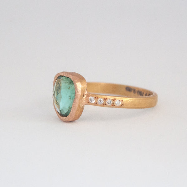 Stella Ring with green tourmaline - Vivien Frank Designs