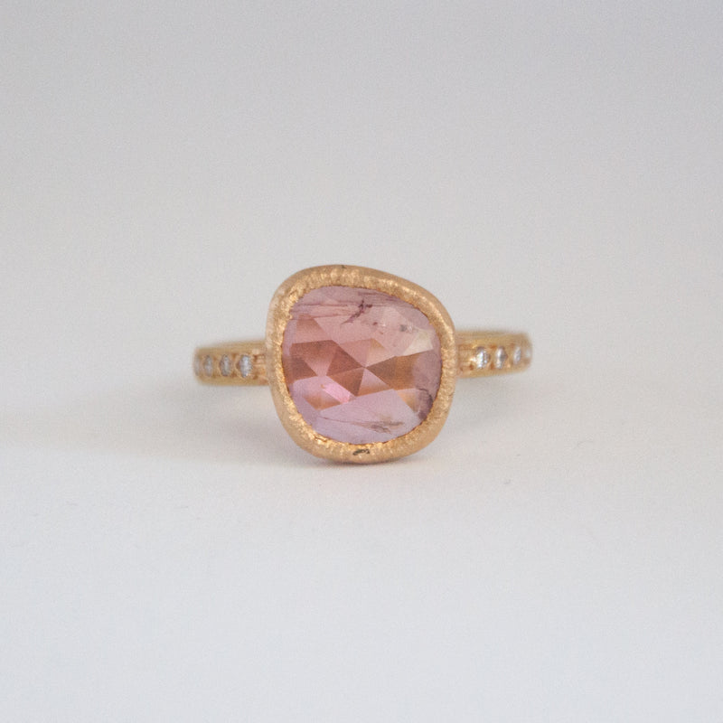 Stella Ring with pale pink tourmaline - Vivien Frank Designs