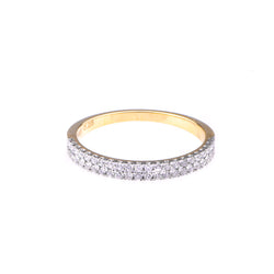 Diamond Double cigar ring in 14k Yellow Gold - Vivien Frank Designs