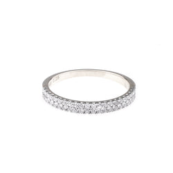 Diamond Double cigar ring in 14k White Gold - Vivien Frank Designs