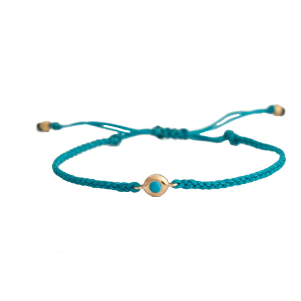 Tourquoise bezeled friendship bracelet - Vivien Frank Designs