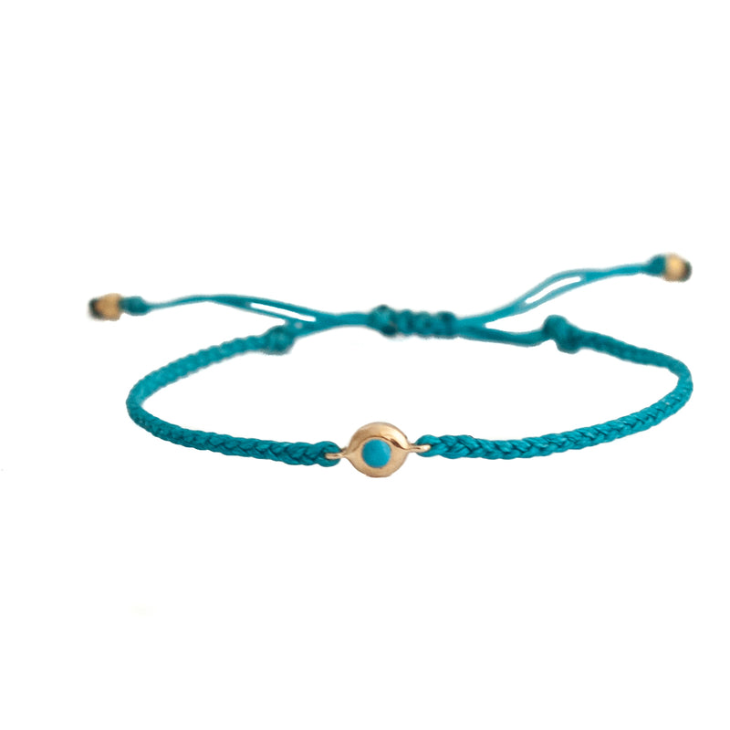 Turquoise bezeled friendship bracelet - Vivien Frank Designs