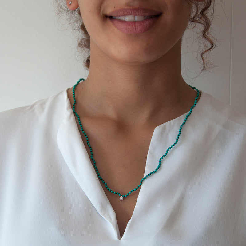 Turquoise knotted diamond charm necklace - Vivien Frank Designs