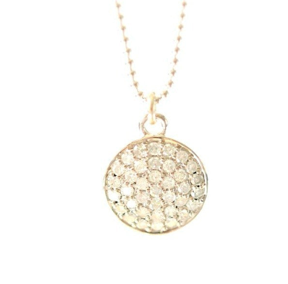 14k solid White gold and Diamond Disc necklace