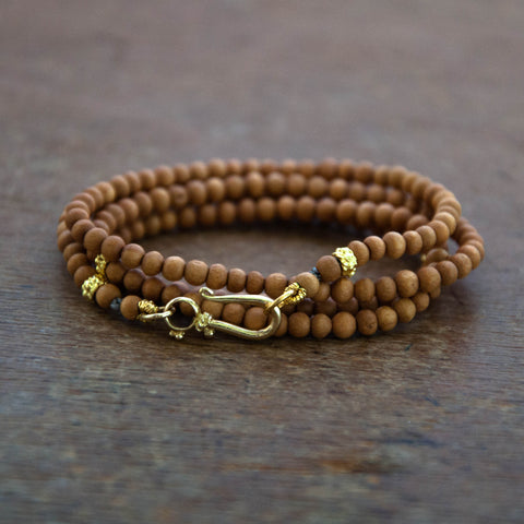 Beaded Sandalwood Wrap Bracelet