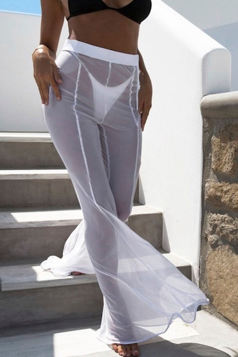 Sheer Pants Cover Up in White