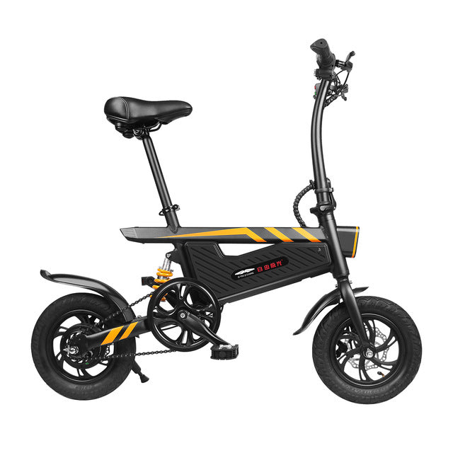 Portable Electric Scooter Folding 2 Wheels Electric Bicycle 12 Inch 250W 36V Max 25KM/H Adults Black Electric Bike Bicycle