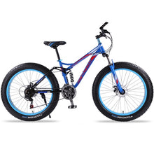 Load image into Gallery viewer, wolf's fang mountain bike 7/21 speed bicycle 26x4.0 fat bike Spring Fork snow bikes road bike Man Mechanical Disc Brake