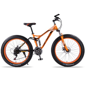 wolf's fang mountain bike 7/21 speed bicycle 26x4.0 fat bike Spring Fork snow bikes road bike Man Mechanical Disc Brake