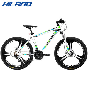HILAND 26 inch 21 Speed Aluminum Alloy Suspension Bike Double Disc Brake Mountain Bike Bicycle with Service and Free Gifts