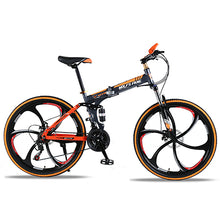 "Load image into Gallery viewer, wolf's fang  Bicycle folding Road Bike 21 speed 26""inch mountain bike brand bicycles  Front and Rear Mechanical Disc Brake bike"