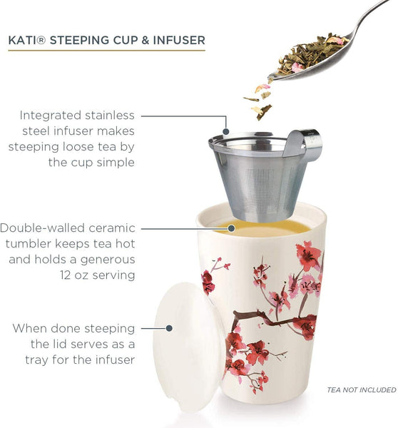 Tea Forte Kati Cup Ceramic Tea Infuser Cup with Infuser Basket and Lid for Steeping