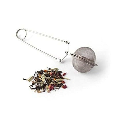 Mesh Ball Tong Tea Infuser with Pincer with tea leaves
