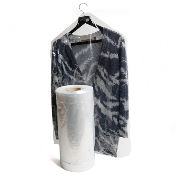 Plain Polythene Garment Covers on a roll