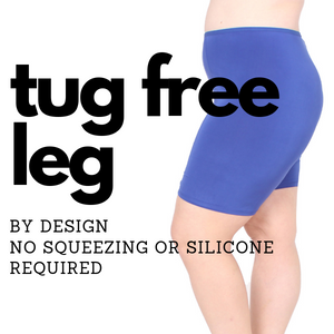 tug free leg by design no squeezing or silicone required to make legs stay put