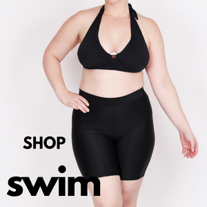 Shop Swim Shortlettes or Shorts for regular and plus size women