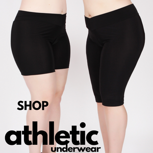 Shop Athletic Shortelttes with a wide waistband in two lengths for regular and plus size women