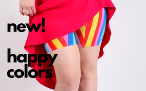 Limited edition Rainbow Shortlette Slip Shorts made to wear under dresses to shop thigh chafing.  Anti thigh chafing solution with a seam free inner thigh.
