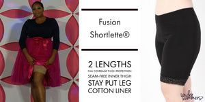 Fusion Shortlette Slip Shorts have a seam free inner thigh and stay put leg sized small to 5X with beautiful black and beige lace details.