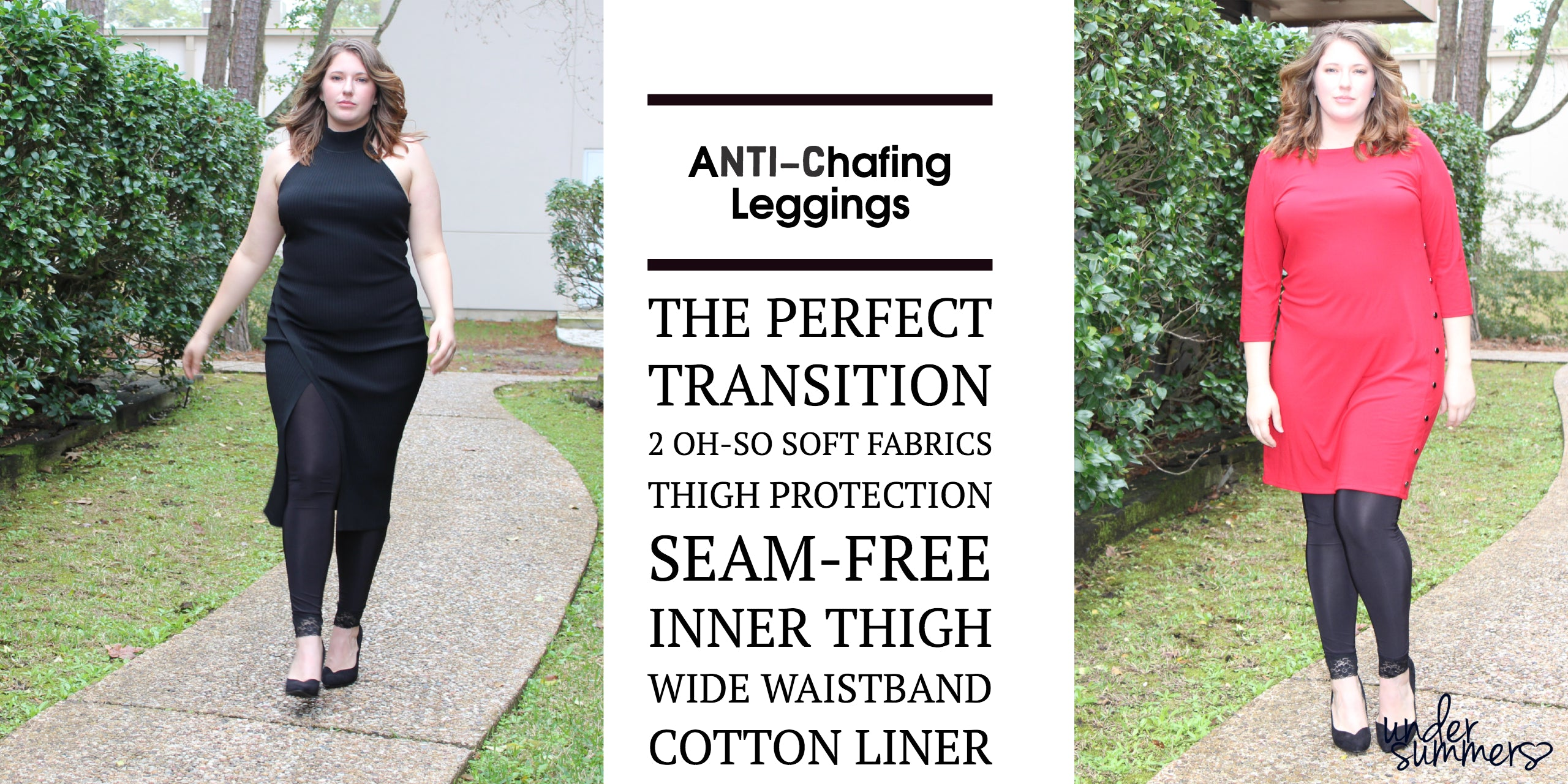 Lightweight Anti-Chafing leggings in regular and plus sizes in black.  Made in the USA of premium fabric for long lasting, comfortable thigh protection under skirts and dresses.