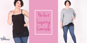 The perfect extra long layering camisole in regular and plus sizes with lace in black and white.
