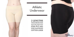 Athletic bike shorts to wear under dresses in regular and plus sizes in black and beige