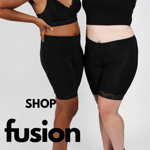 Shop Fusion Shortlettes at Undersummers sized Small to 5X Plus (Shown in black)
