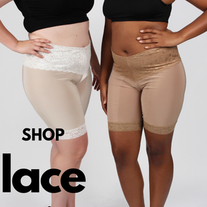 Shop Undersummers Lace Shortlettes sized small to 4X Plus (shown in light ecru and beige colors)