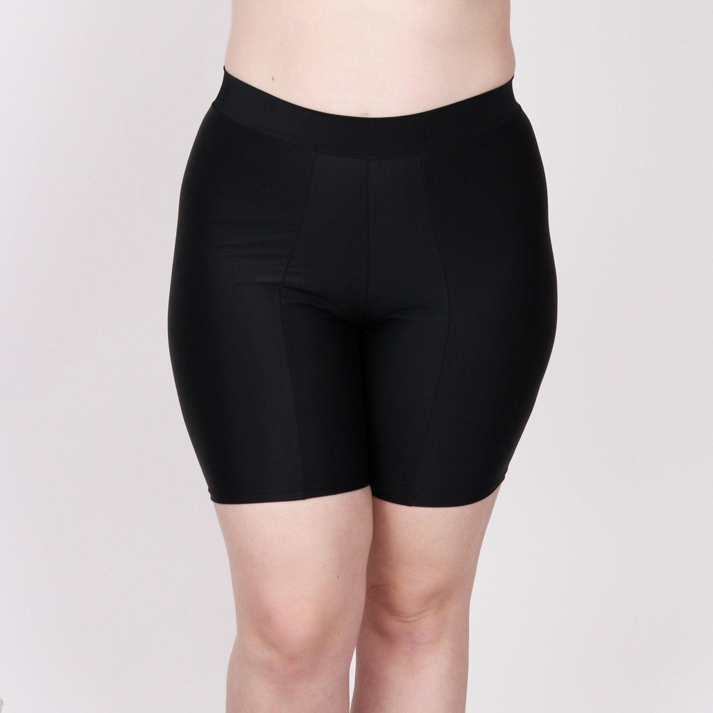 Thigh Protecting Swim Short — Black - Undersummers by CarrieRae