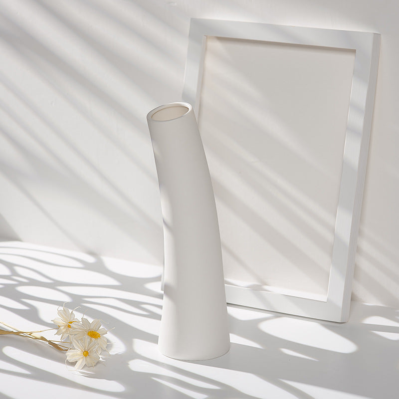 Inclined cylinder White CERAMIC VASE