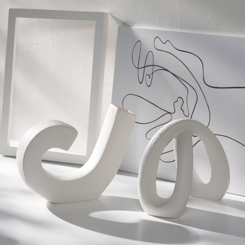 'J' shape WHITE CERAMIC VASE