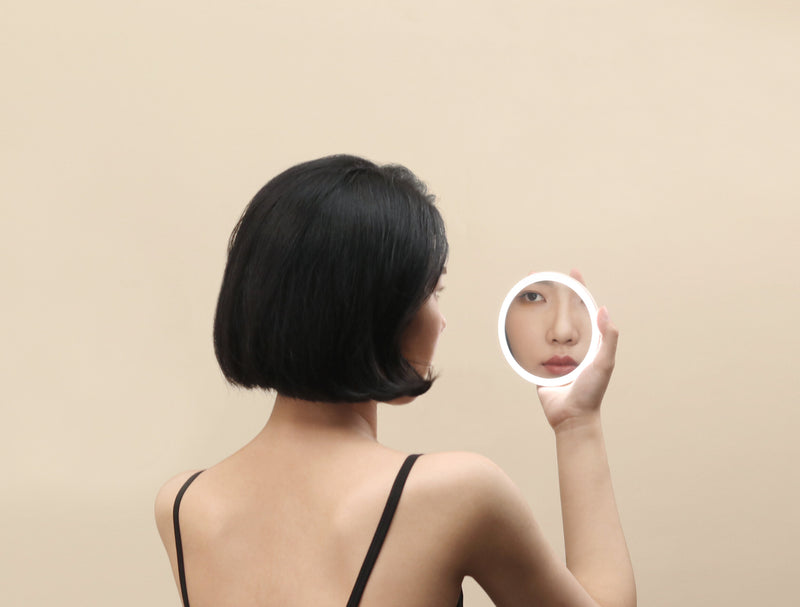 Mini Q Handheld Travel Mirror with LED Adjustable Light - The Feelter