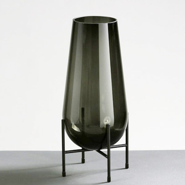 Dark Green Metal Base Glass Vase - High Model - The Feelter