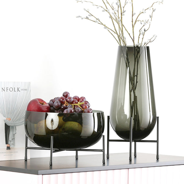 Dark Green Metal Base Glass Vase - Low Model - The Feelter