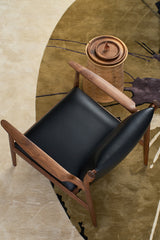Designer Furniture Replica CLAUDE | EASY CHAIR Black Leather Lounge Chair