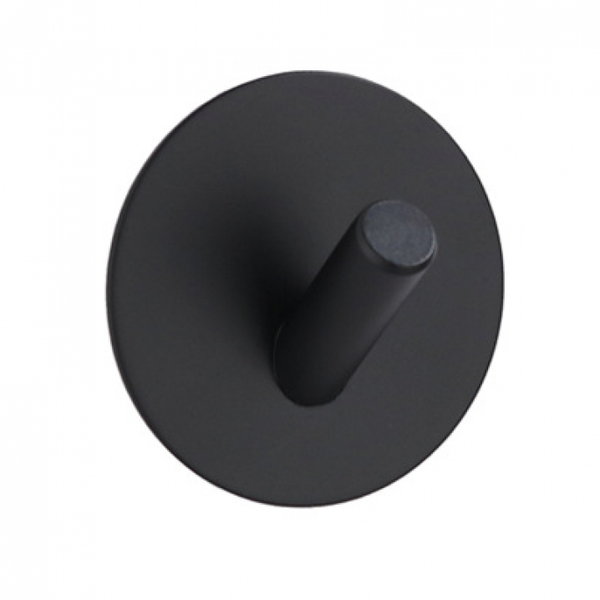 The Feelter Round Stainless Steel Hook Self-Adhesive, Matte Black, Set of 3