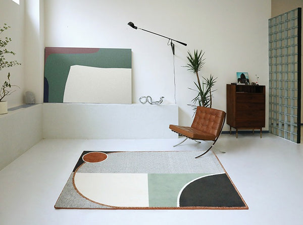 Designer Rectangle Rug With Abstract Pattern