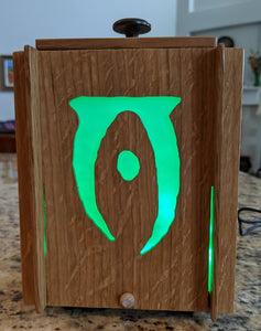 Elder Scrolls Illuminati LED Lightbox, quartersawn white oak