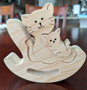 Rocker Wooden Puzzle - Mother/Child Cats
