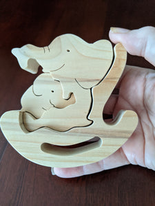 Rocker Wooden Puzzle - Mother/Child Elephants