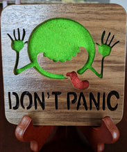 Load image into Gallery viewer, Hitchhiker's Guide Don't Panic! Hand Cut Wooden Deskorations