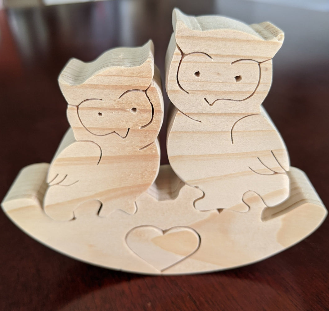 Rocker Wooden Puzzle - Heart Owls