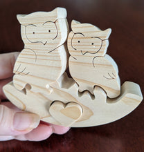 Load image into Gallery viewer, Rocker Wooden Puzzle - Heart Owls