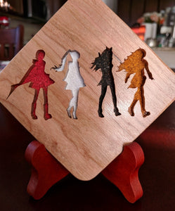 RWBY:  Team JNPR Hand Cut Wooden Deskoration