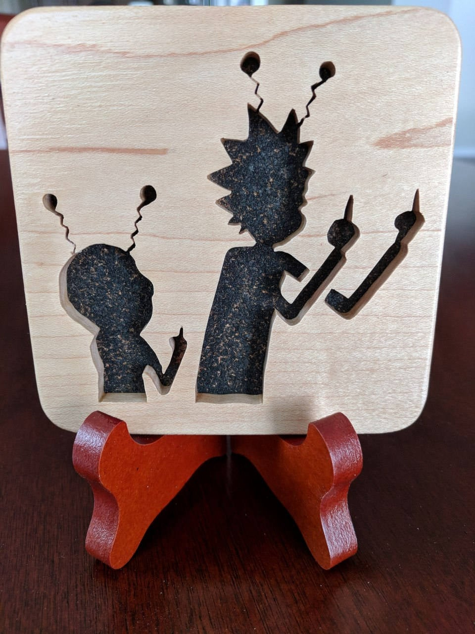 Rick and Morty Hand Cut Wooden Deskoration