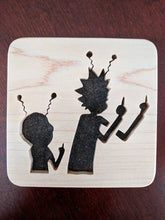 Load image into Gallery viewer, Rick and Morty Hand Cut Wooden Deskoration